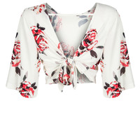 White Floral Open Back Cropped Blouse
