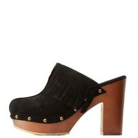 Black Chunky Studded Mules with Fringe by Charlotte Russe