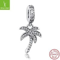 Real 925 Sterling Silver Sparkling Palm Tree Charm With Clear CZ Fit Original Pandora