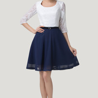White And Navy Blue Lace Sheer Sleeves Homecoming Dress