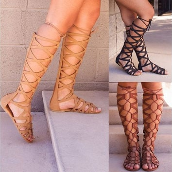 Jemma Gladiator Sandals Women High Boots Shoes Hollow Out
