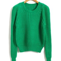 Cropped Chunky Knitted Jumper in Green