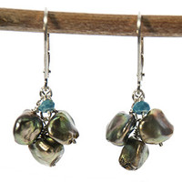 Keishi Pearl and Turquoise Earrings by Kristin Ford | Whisperingtree.net