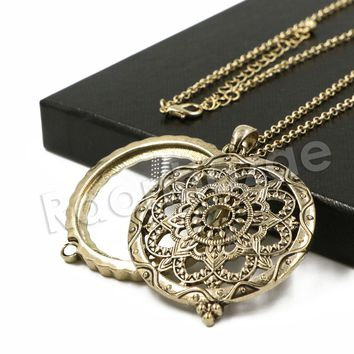 Antique Wheel of Life 5X Magnifying Glass Locket Pendant Necklace