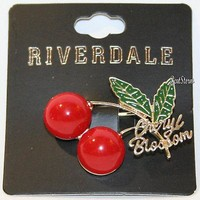 Licensed cool Riverdale Cheryl Blossom Red Cherries Brooch Pin Replica Hot Topic Exclusive NWT