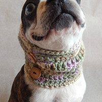 Multi-colored purple, green and brown dog Cowl scarf  hand crocheted neck warmer with brown bottons  Boston Terrier