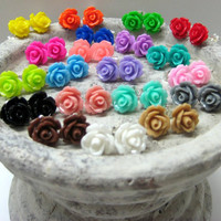FIVE PAIRS of Rose Stud Earrings - Choose Your Colors - 24 Colors to Choose From