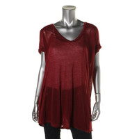 Free People Womens Oversized Cuffed Casual Top