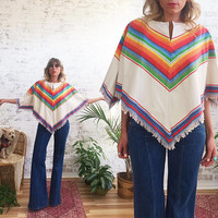 Vintage 1970's RAINBOW Striped Cotton Cropped Poncho || One Size