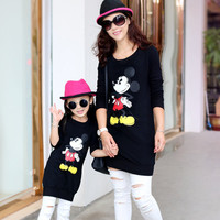2015 autumn mother daughter t-shirts mickey cartoon t shirts long sleeve matching mother daughter clothes mommy and me clothes