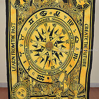 Compass Yellow Color Tapestry Indian Wall Hanging Cotton Decor SBS05YL