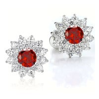Sunflower W. Red and Clear Round Cubic Zirconia Stud Earrings