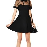 Womens Sexy Net Splicing Backless Over Hip Cocktail Bandage Dress
