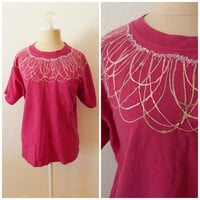 Vintage 80s Pink Puff Paint Womens Glitter Hipster Ugly T Shirt Short Sleeve Fall Tops