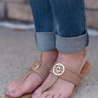 Tory Inspired Sandals- Camel