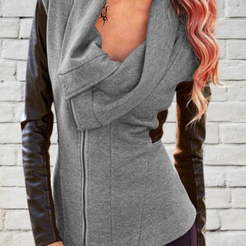Turn-Down Collar Faux Leather Sleeve Zip-Up Coat