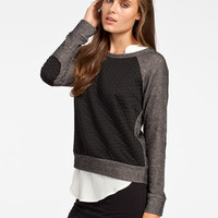 H.I.P.Quilted Womens Raglan Tee Grey/Black  In Sizes