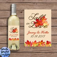 Wedding Wine Labels - Bridal Party Gifts - Thank You Wine Bottle Labels - Fall in Love Bridesmaid Gift - Autumn Wine Label - Custom Label