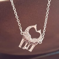 Dainty jewelry Delicate Silver necklace Giraffe Heart shape charm Jewelry Gift Dinty necklace