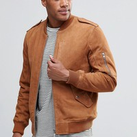 ASOS Military Suede Bomber Jacket With MA1 Pocket In Tan at asos.com
