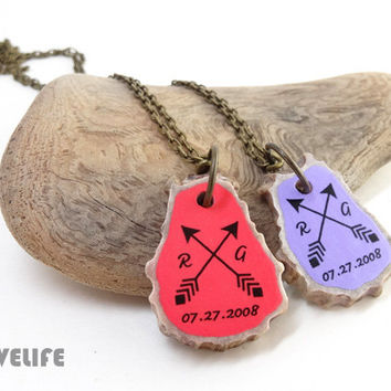Couples Necklace Set, Best Friend Necklace - Boho Arrow Necklace - Personalized Antler Horn Jewelry - Friendship Gift, Couples Jewelry