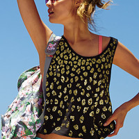 Cute Victoria's Secret Black Leopard Print Sequin Tank