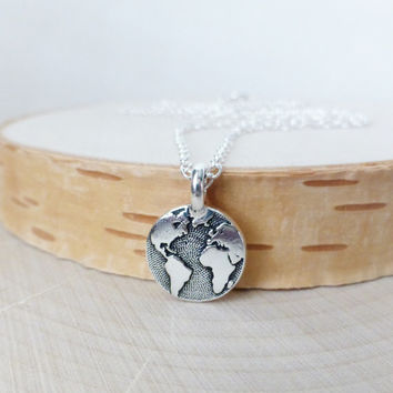 Earth Charm Necklace, Stamped Tiny Charm Circle Pendant, Planet Charm Necklace, Silver Pendant Layering Necklace, Mother Earth Necklace