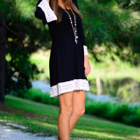 Feminine Lace Dress, Black