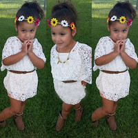 Baby Girls Summer Floral Bat Sleeve Tops shirt Hollow Out Lace Blouse