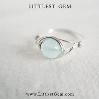 size US 6.75 Aqua Chalcedony ring - unique rings - custom