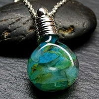Peru blue opal pendant, floating blue opal pendant, glass flask pendant raw opal necklace gift for her October birthstone pendant uncut opal