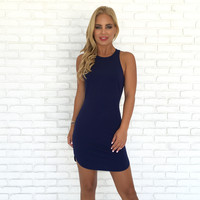 Full Control Bodycon Dress In Navy Blue