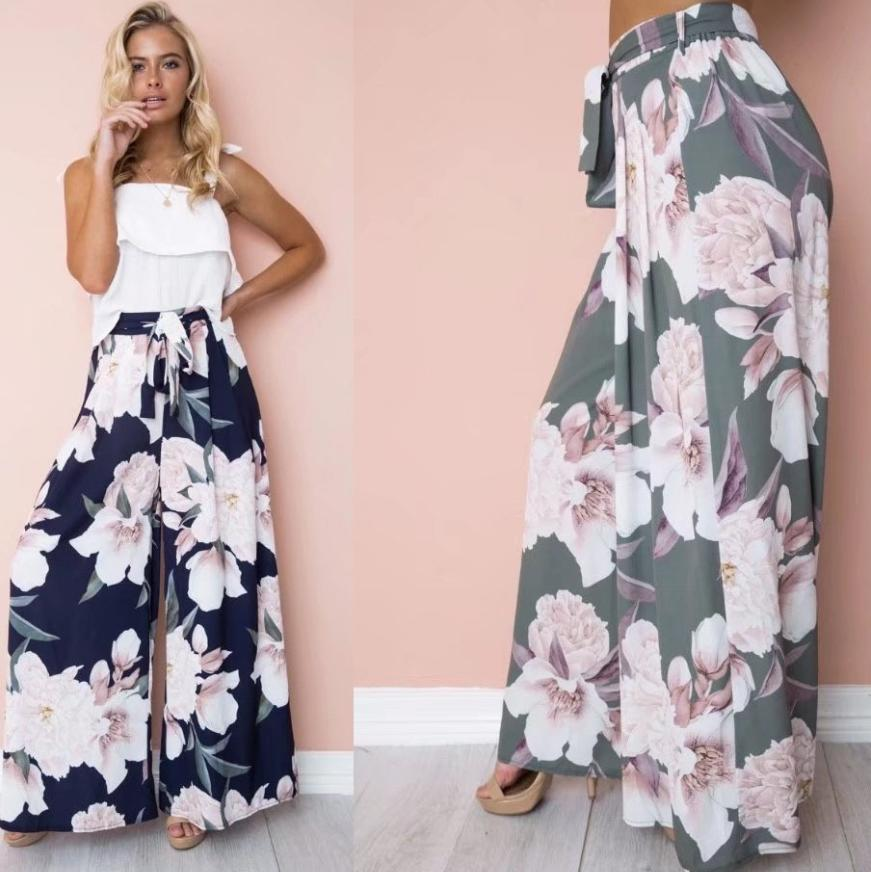 Image of Hot style hot selling print relaxed loose wide leg lace-up pants for women
