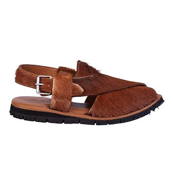 Mikaal Natural Mens Cow Hair On Rugged Leather Sandals Peshawari Chappal