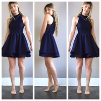 A Lace Floral Party Dress in Midnight Blue