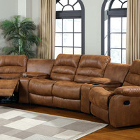 5 pc Manchester contemporary style caramel leather like fabric home theater seating set with center console wedges and recliners