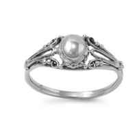 Sterling Silver Half Dome Antique Style Ring - Size 7