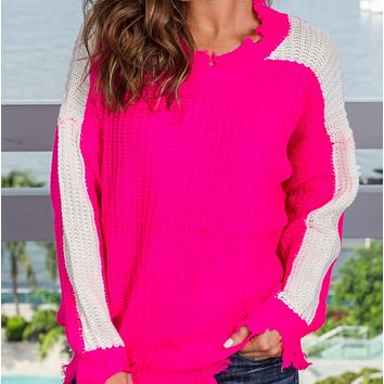 Hot sale simple casual knit loose color matching sweater