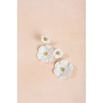Janie White Flower Front Back Earrings