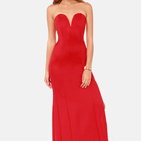 TFNC Patcha Strapless Red Maxi Dress
