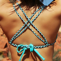 Teal Triangle Top w/ Braided Straps - 3 Color Braids - Fully Lined - High Quality Swimwear Fabric - New