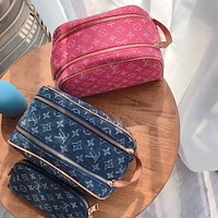 Inseva LV 2020 New Denim Embroidered Letter Cosmetic Bag Crossbody Bag Two Piece Set