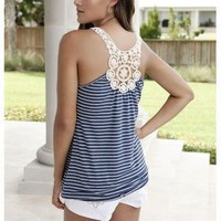 STRIPED CROCHET TANK WITH BRAIDED STRAPS | Body Central
