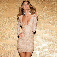 Women Lace Backless Long Sleeve V Neck Nightclub Clubbing Party One Piece Dress _ 2226