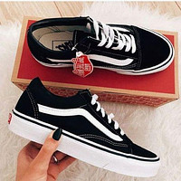 VANS fashion low-cut solid color sneakers classic men's and women's stitching canvas shoes