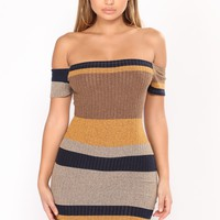 Sweet Tea Stripe Dress - Yellow/Navy