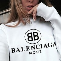 Balenciaga Round-neck sweaters Women Men Big Double B Print Top White