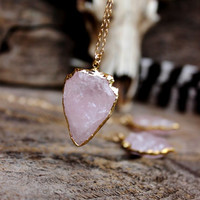 Rose Quart Arrowhead Edged in 24K Gold Necklace, Love Stone, Brazilian Stone, Healing Quartz, Bohemian Rubi, Spiritual, Nature Inspired