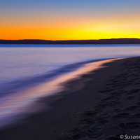 Nature Photography, Sunset Colors at Lake Superior, Beach, Matted Print and Photo Card, Blue and Yellow, Peaceful Evening, Wall Decor