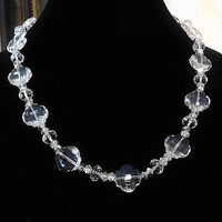 "Art Deco Crystal Necklace / Fancy Faceted Beads / 22"" Matinee Strand"